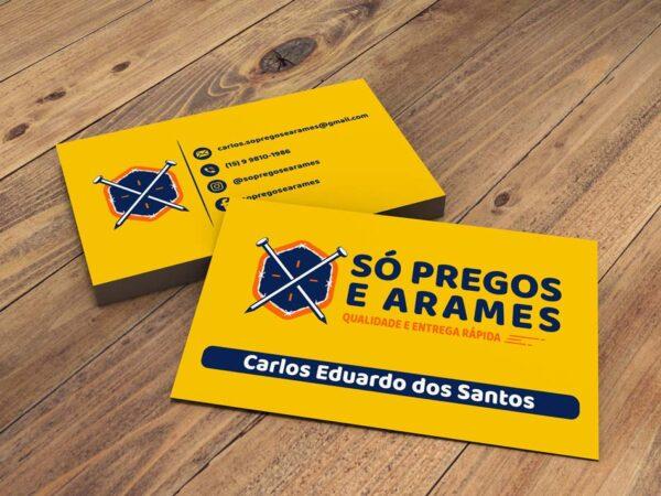 Criação de cartão de visita para distribuidora de pregos e arames
