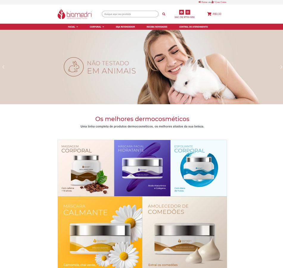 Criação de loja virtual para loja de dermocosméticos