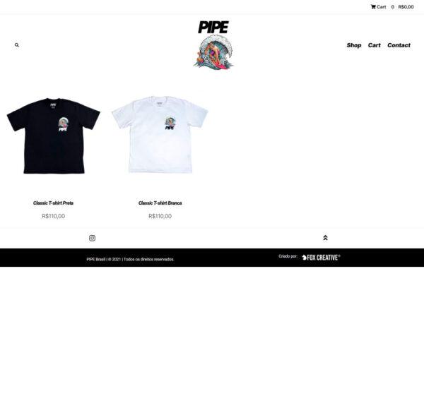 Criação de loja virtual para loja t-shirt