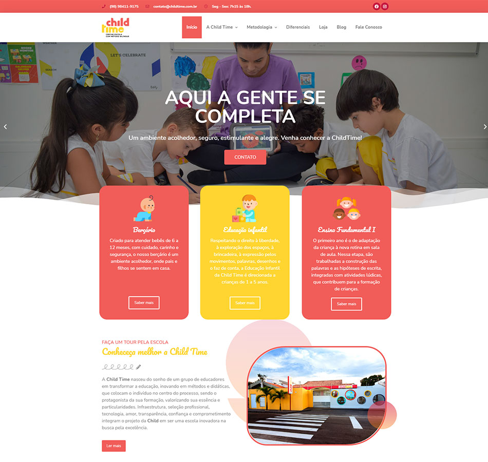 Criação de site e loja para creche e escola infantil